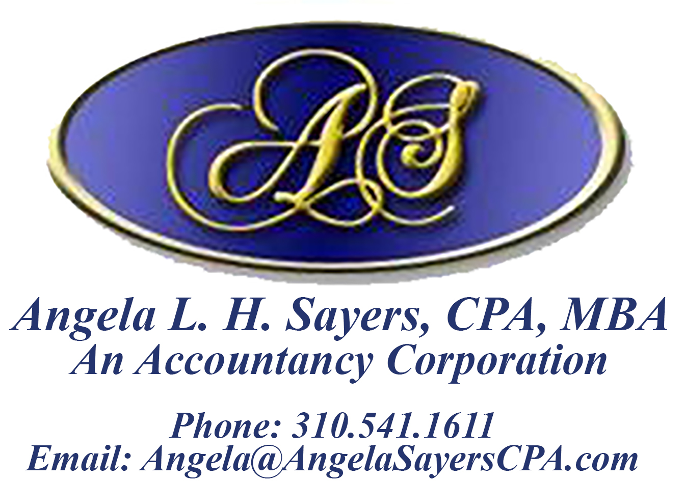 Angela Sayers logo and contact information