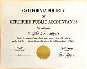 California Society of Certified Public Accountants Certificate